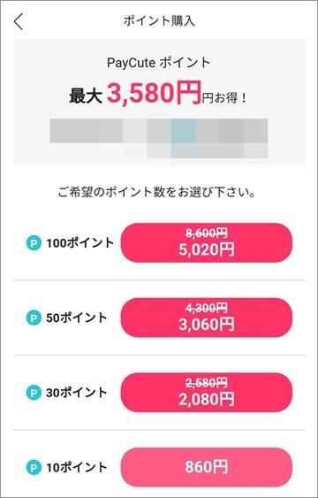 PayCute(ペイキュート) ポイント 料金